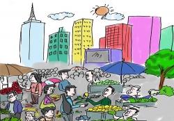 城南新区伍佑街道 引导流动摊贩规范经营