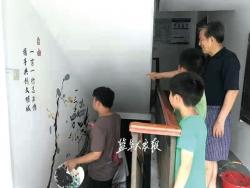 """工学院大时时彩开户创意有亮点 16幅水墨画""""点靓""""老旧小区楼道"""