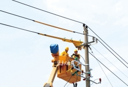 """高温""""烤""""验电力工人 带电搭接保障防洪排涝用电"""