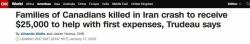加政府将向加籍遇难乘客家属提供每人2.5万加元赔偿