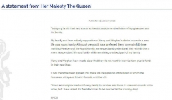 """英國女王發聲明:支持哈里和梅根""""開始新生活"""""""