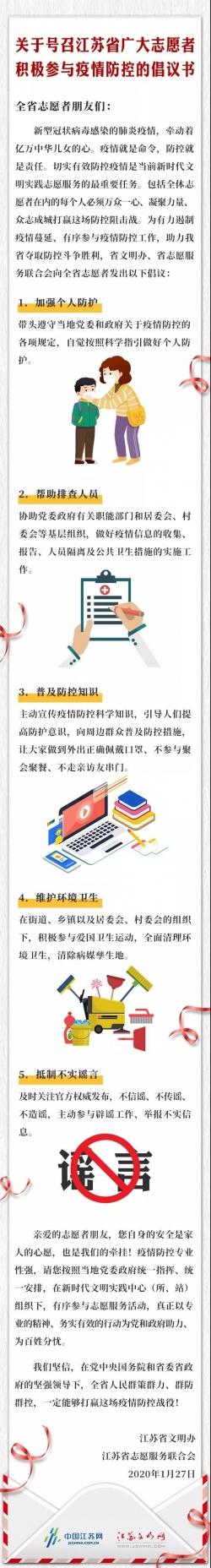关于号召江苏省广大志愿者积极参与疫情防控的倡议书