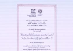 盐城黄海湿地世界遗产证书上写了啥